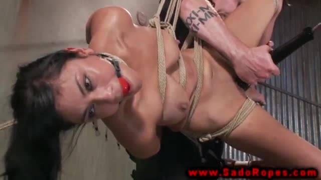 Bound sub gets whipped by her master
